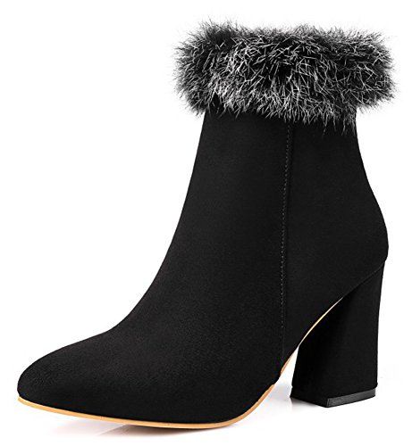 Lined Ankle Short Dressy Inside Boots Black Heels Zipper With High Zip Aisun Fur Up Toe Booties Womens Pointed Faux Block w8SgCnIZxq