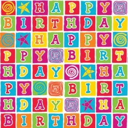 Printed Gift Wrap 30 Wide 5 Foot Roll Birthday Blocks Amazoncouk
