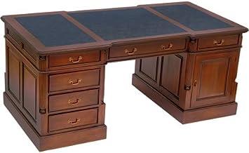 MOREKO Partner Desk Antiguo Estilo de Escritorio Madera de ...