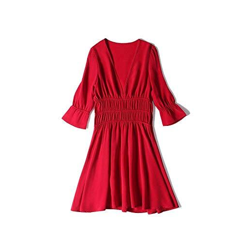 Abito V Oudan Scollo Temperamento Gonna Dimagrante In Abito Vita Corta Chiffon Rosso Alta A Medium colore Femminile Rosso Di Dimensione FF8tpw