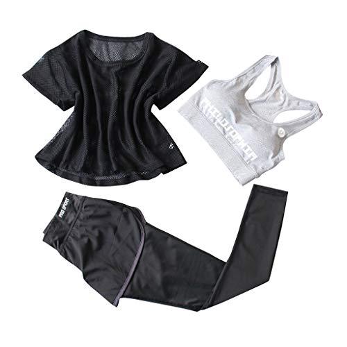 Sports Suit Three Piece Set Women, Yoga Suit Woman Fitness Running Short Tops + Short Pants + Sports Bra Training Sets Athletic Fitness Jogging Suit
