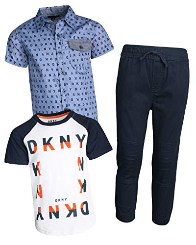 DKNY Little Boys 3-Piece Pant Set with Button Down Shirt, Tee and Jogger, Dress Blues, Size ()
