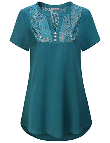 - Blouse for Women Work Casual, Lady Notch V Neck Short Sleeve T Shirt Solid Color Lace Patchwork Comfort Lightweight Chiffon Plaeted Tunic Tops for Leggings Teal M