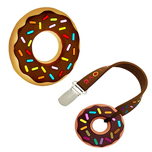 (Silli Chews Teething Pain Relief Silicone Donut and Pacifier Clip Holder for Trendy Boy or Girl Teether Toys Best Baby Shower Infant Newborn 0 3 6 Months 1 Year Old Unique Gift)