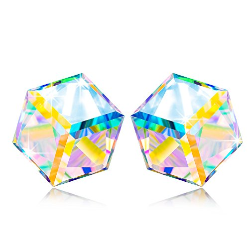 Stud Earrings s925 Sterling Silver NINASUN Kaleidoscope Swarovski Crystals Jewelry for Women Birthday Gifts for Teen Girls Anniversary Gifts for Women Wife Girlfriend Mothers Day Gifts for Mom - Kaleidoscope Crystal