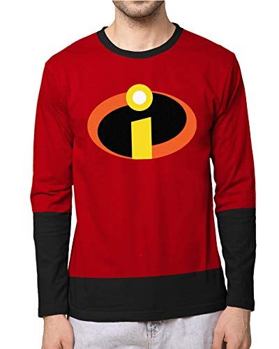 Incredibles Superhero Shirt for Men - Adult Graphic Incredible Symbol Long Sleeve Red Mens Tshirts (XL) -