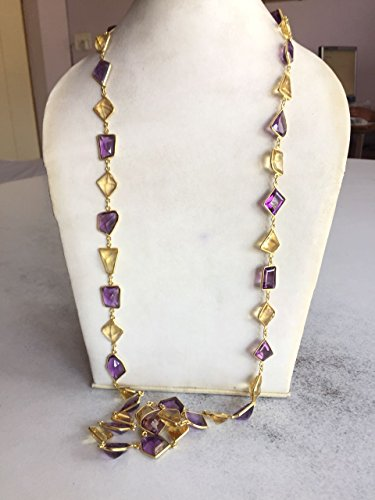 925 Sterling Silver Trendy Delicate Amethyst, Lemon Citrine Chain Jewelery Length 40inchses Long
