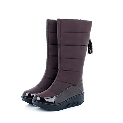 AllhqFashion Womens Mid-top Pull-on Soft Material Kitten-Heels Round Closed Toe Boots Brown xIhw05Jgo
