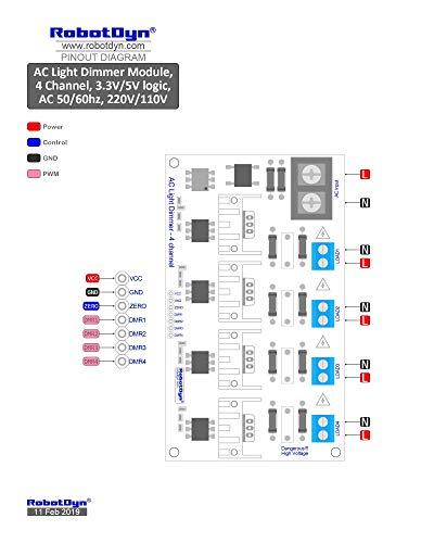 RobotDyn - 4 Channel AC Dimmer Controller Module for Arduino, STM32, ESP32,  ESP8266, Raspberry pi, 3 3V/5V Logic, AC 50/60hz, 220V/110V