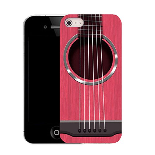 Mobile Case Mate IPhone 4 clip on Silicone Coque couverture case cover Pare-chocs + STYLET - pink guitar strings pattern (SILICON)