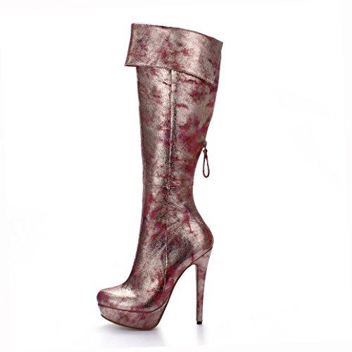 Talons 14CM 3CM Forme Chaussures Automne Femmes Hauts Bottes Bottes Hiver Plate nZxIOT