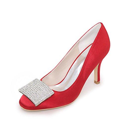 L@YC Frauen High Heels Frühling Sommer Herbst Winter Satin Hochzeit Party & Abend flache Ferse Rhinestone blau rot lila weiß Silber Red