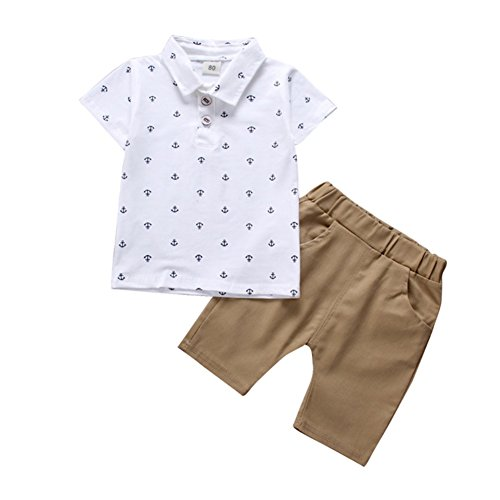 BAOBAOLAI Baby Boys Summer Outfits Sleeveless Top Shirt + Shorts Clothes Set (6-12 Months, Anchor - White)