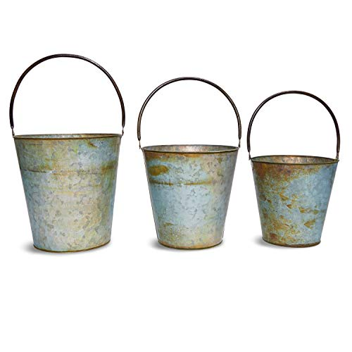 - Juvale 3-Pack Galvanized Rustic Metal Buckets with Handles for Planters and Home Decor, 3 Sizes, 7.5, 9, and 10 Inches