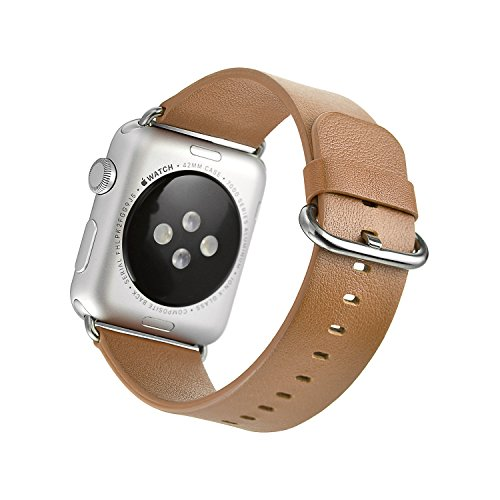 [Mifa Apple Watch Series 1 2 Classic Buckle Band Strap Genuine Premium Top Grade Soft Leather Color Selection: Black Orange Pink Blue Brown Stainless Steel Clasp Lugs for Sports (Brown) 42 mm] (Pink Soft Leather)