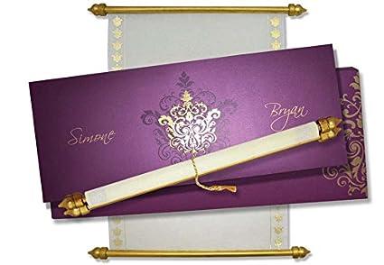 MackMark Indian Wedding Cards With Box 10 Pcs Purple Amazonin