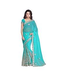 janasya women's turquoise Gotta-pati saree