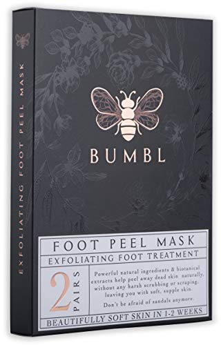 BUMBL Foot Peel Mask, Exfoliating Callus Remover. Perfect for Removing Dead Skin, Eliminating Foot Odor, and Repairing Rough Heels. Make Your Feet Baby Soft, All-Natural Biotanicals, 2 Pairs Per Box