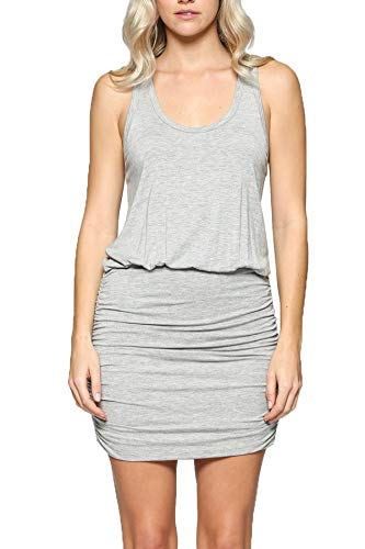(LaClef Women's Mini Ruched Tank Shift Dress (H Grey,)