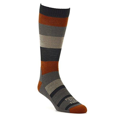 Farm to Feet Rutherford College Wide Stripe Crew Socks, Mahogany/Desert Tan, X-Large