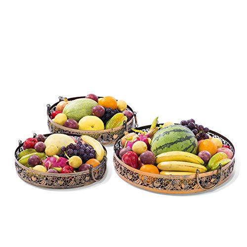 Knl Inc Home Decor - Victoria Vintage Serving Tray Round Cut Out Pattern Antique Fruit Basket Countertop with Ornate Accent Metal Handles Set of 3, for Dessert Cake Fruit Drink Wine Party Vanity Food
