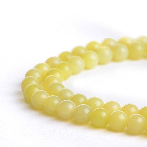 Natural 8mm Lemon Jade Gemstone Loose Beads Polished Round Crystal Quartz Energy Healing Power Stone Beads For Jewelry Making&DIY - Lemon Polished
