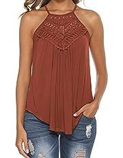 Bluetime Women's Summer Casual Halter Sleeveless Lace Flowy Tunic Tank Tops Cami Shirt