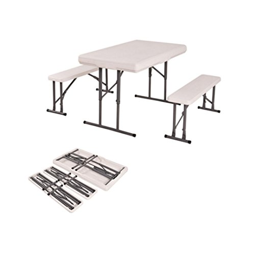Portable Folding Table & Benches Height Adjustable Outdoor Picnic Party Home Kitchen Dining Furniture Set - Frame Glasses Half Singapore