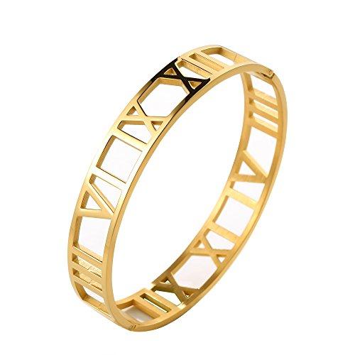 JINHUI Jewelry 18 K Gold Bangle Love Hollow Roman Numerals Bracelet for Women Size 7.3''