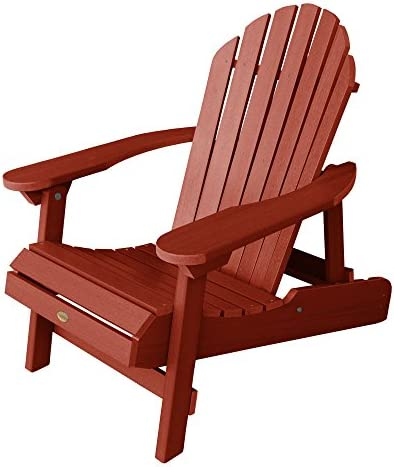 Highwood Hamilton Folding and Reclining Adirondack Chair, Adult Size, Rustic Red, Model Number AD-CHL1-RED