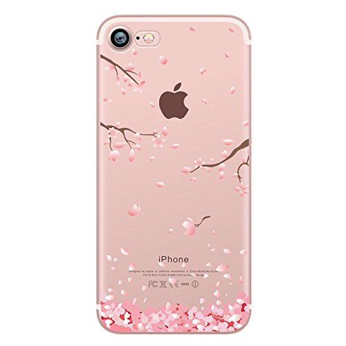 Price comparison product image iPhone 8 Case, iPhone 7 Case, Hepix Cherry Blossom Floral Print Transparent Case with TPU Edge Bumper Soft Protective Cover [4.7 inch]
