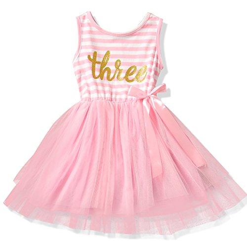 NNJXD Girl Shinny Stripe Baby Girl Printed Tutu Dress Size (100) 2-3 Years Pink