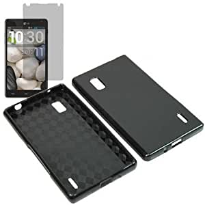 Bloutina BW TPU Sleeve Gel Cover Skin Case for AT&T LG Optimus G E970 + Fitted Screen Protector -Black