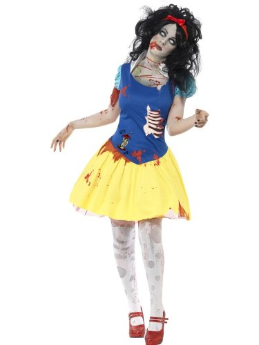 [Smiffy's Women's Zombie Snow Fright Costume, Dress with Latex Chest and Headband, Zombie Alley, Halloween, Size 14-16, 23352] (Zombie Fancy Dress Costumes Uk)