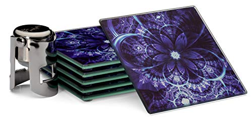 """Drink Coaster Set of 6, Purple Flower, Large size 4x4"""", protect furniture, indoor, outdoor, kitchen, dining, bar, wine glasses, tea or coffee cups ()"""