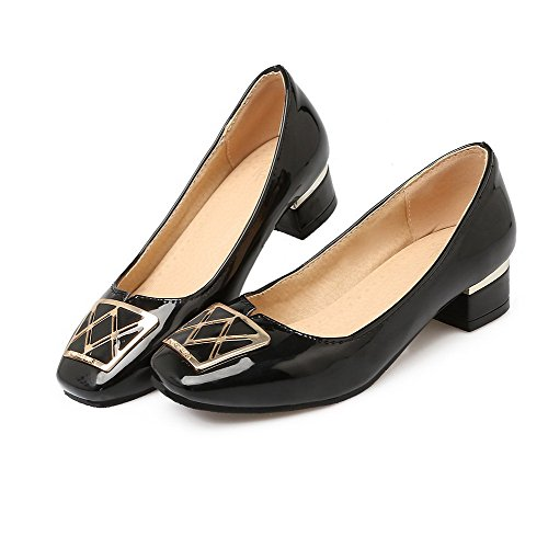 On Solid WeiPoot Square Toe Black Shoes Pumps Pull Women's Heels PU Low B0frfqYZ