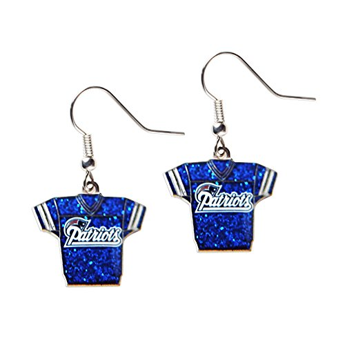 Sports Team New England Patriots Jersey Dangle Glitter Earring Set