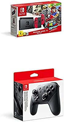 Nintendo Switch - Consola + Super Mario Odyssey Bundle (Código Descarga) + Mando Pro Controller, Con Cable USB: Amazon.es: Videojuegos