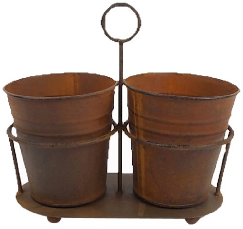 Craft Outlet Tin Two Rustic Buckets, 9 by 8.75-Inch