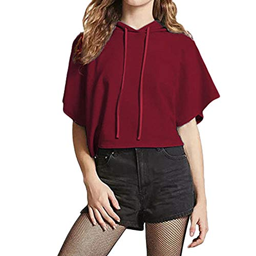 or Summer,Women Fashion Drawstring Pink Short Sleeve Hooded Casual Crop Top ()