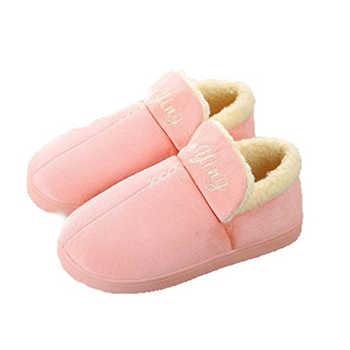 GIY Winter Warm Women/Men Couples Slippers Faux Fur Suede Indoor Soft Family Slippers Clog Plush Slippers Pink