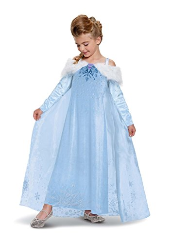 Elsa Frozen Adventure Dress Deluxe Costume, Multicolor, Medium (7-8)