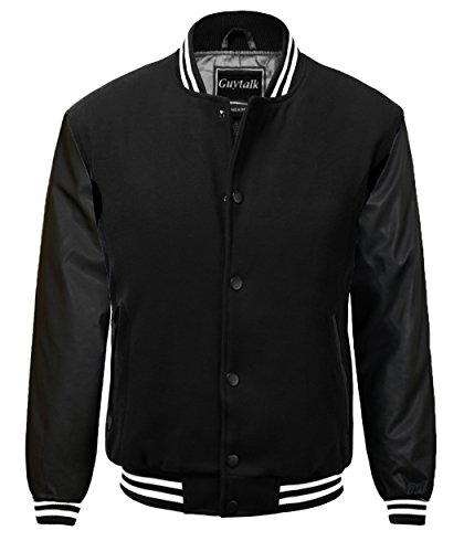 Guytalk Men 39 S Letterman Style Premium Thick Fabric Varsity Baseball Jacket Medium Black Apparel
