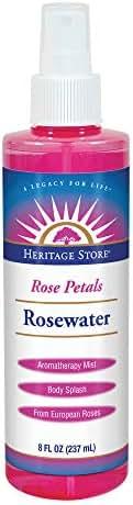 Heritage Store Rose Petals Rosewater | 100% Pure Vegan, Alcohol Free| Helps Skin, Hair & More | Mist Spray Btl | 8 oz