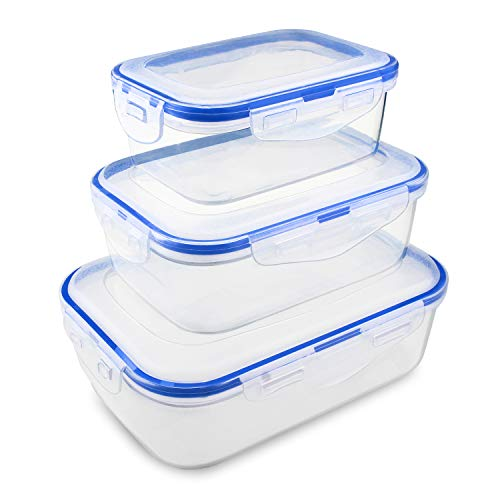 Mytour 6-piece Airtight Food Storage Containers with lids,Easy Snap Lock and Leak proof Meal Prep Containers,BPA-Free Plastic Lunch Box,Microwave/dishwasher/Freezer Safe (6 piece container)