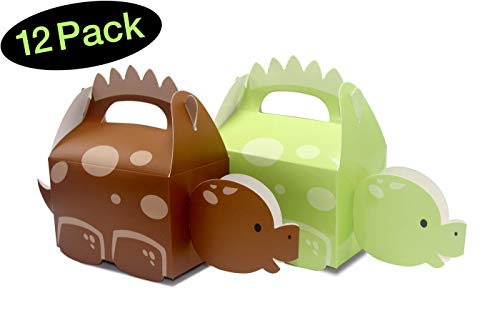Dinosaur Party Favor Bags or Boxes, Green and Brown Combo // 12-pack