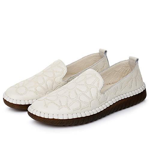 FLYRCX Zapatos Planos de Cuero Damas Primavera y otoño cómodos Zapatos de Trabajo de Fondo Suave Viaje Zapatos de Trabajo Zapatos de Maternidad Antideslizantes creamy-white