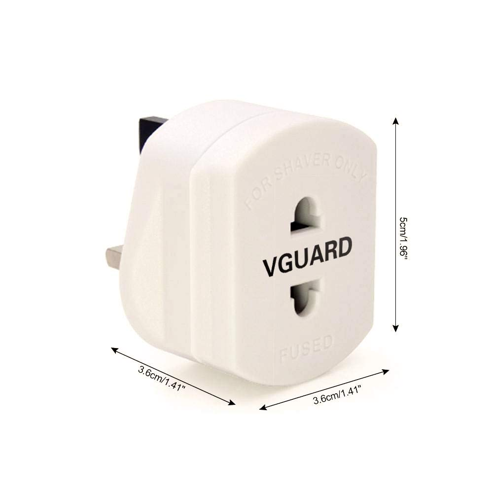 to 3 Pin for Electric Shaver//Toothbrush VGUARD 1A Fuse Adaptor Plug, 2 Pack White round or flat UK Adapter Plug 2 Pin