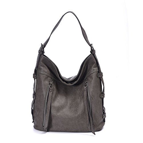 Gray Hobo - Hobo Bags for Women Large Hobo Handbags Designer Leather Handbag Retro Crossbody Tote Top Handle Bag For Ladies Office Work(Gray)