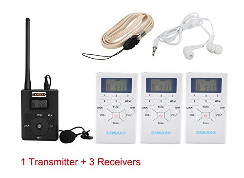Exmax 60 108Mhz Portable Dsp Stereo Wireless Headsets Fm Radio Broadcast System For Tour Guide Teaching Meeting Training Travel Field Interpretation   1 Transmitter And 3 Receivers White